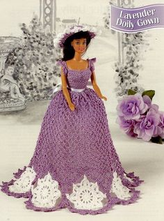 Lavender Doily Gown for Barbie Annie's Attic Crochet Pattern 30 Days To Pay!