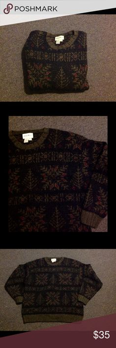 """Eddie Bauer Green Nordic Fair Isle Wool Sweater XL Very nice Eddie Bauer sweater. Dark green with snowflakes and trees. The snow and trees are darker than in the photos and don't stand out as much. Wool blend in size XL. Might run bigger. Chest 51"""" Length 30"""" Eddie Bauer Sweaters Crewneck"""