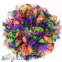 Halloween Wreath Fall Wreath Halloween Deco by HaresToYouDesigns, $89.00