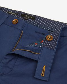 Slim fit chinos - Dark Blue | Trousers | Ted Baker UK