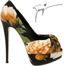 Unreal Giuseppe Zanotti floral printed satin peep-toe pumps | 5.9″ heel & 2″ platform | available online at Endless for $750