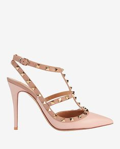 534ff07c40e Valentino Rockstud Cage Pump  Pink Rose  A T strap front cage pump has edgy  appeal