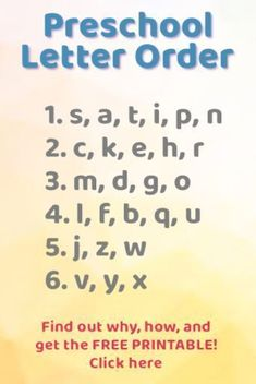 Teaching Letter Recognition – what order to introduce letters Free Printable! This is the order for teaching the alphabet letters! This teacher explains WHY and [. Kindergarten Readiness, Preschool Letters, Preschool At Home, Preschool Kindergarten, Kids Letters, Toddler Preschool, Preschool Learning Activities, Preschool Lessons, Alphabet Activities