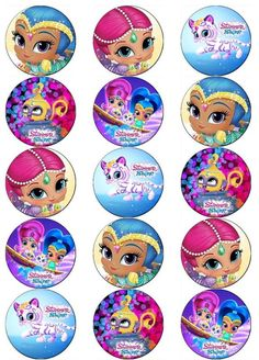 SHIMMER AND SHINE V1 EDIBLE WAFER PAPER TOPPERS CUPCAKE CAKE MUFFIN