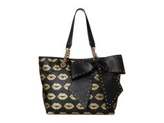 Betsey Johnson BOW-LETTE TOTE BJ50505 BLK/GOLD GLITTER KISS LIPS PRINT, Stud Bow #BetseyJohnson #TotesShoppers