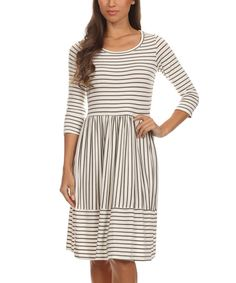 Look at this #zulilyfind! White & Black Pinstripe Fit & Flare Dress by Pretty Young Thing #zulilyfinds