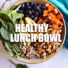 This healthy lunch bowl aka Buddha Bowl is packed with total goodness! Avocados quinoa walnuts sweet potatoes and more! Healthy Snacks, Healthy Eating, Healthy Recipes, Vegetarian Recipes Videos, Cheap Recipes, Dinner Healthy, Vegan Breakfast Recipes, Lunch Recipes, Smoothie Recipes