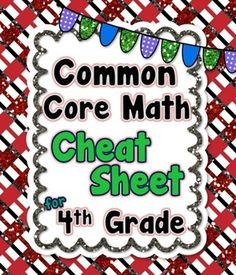 "Are you tired of flipping through dozens of pages to figure out what a certain Common Core standard is?! I know I was. I decided to make this 1 page ""Cheat Sheet"" that I keep in the back of my Math Lesson Plan Binder. It has been extremely useful. I find myself constantly looking at it when I need to know what a certain standard is.Enjoy this freebie!! _______________________________________________________Interested in quick assessments for each 4th grade standard?"