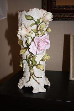 Pr Antique German porcelain early mark Schierholz Vases applied Roses majolica