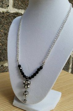 Black Swarvoski crystal and silver plated chain by ILoveBeads247