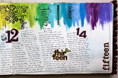 Rainbow art journal page for a week. By @karen grunberg