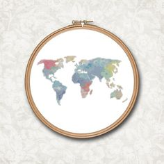 World Map  PDF counted cross stitch pattern available for instant download.  Floss: DMC Fabric: 14-count  Design Area: 100w X 92h Stitches  Area of cross stitch image: 14 Count - 10.7 x 8.6 inches or 27.2w x 21.8h cm 18 Count - 8.3 x 6.7 inches or 21.1w x 16.9h cm 22 Count - 6.8 x 5.5 inches or 17.3w x 13.9h cm -----------------------------------------------------------  You will need Adobe Acrobat PDF Reader to view the pattern Available for free download here: http://get.adobe.com/reader…