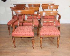 8 Regency Bar Back Dining Chairs Mahogany Diner Walnut Dining Chairs, Antique Dining Chairs, Pedestal Dining Table, Dining Set, Queen Anne Chair, Chippendale Chairs, Regency, Bar, Antiques