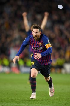 Lionel Messi of Barcelona celebrates after he scores his sides third goal during the UEFA Champions League Semi Final first leg match between Barcelona and Liverpool at the Nou Camp on May 2019 in Barcelona, Spain. Fc Barcelona, Liverpool Uefa Champions League, Lional Messi, Barcelona Players, Lionel Messi Barcelona, Best Club, Latest Sports News, Semi Final, Sports