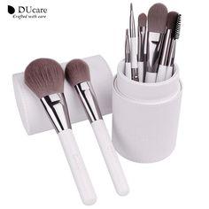 DUcare 8pc Timeless Elegance Makeup Brush Set & Leather Holder