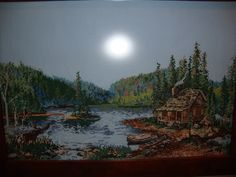 Counted Cross Stitch Cabin on Lake