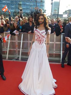 Conchita Wurst arriving on the red carpet at the opening of the 2014 Eurovision Song Contest.