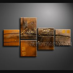 Beautiful Modern Textured Painted Wall Art Oil Painting On Canvas Panels Stretched Ready To Hang Abstract. This 5 panels canvas wall art is hand painted by Bo Yi Art Studio, instock - $135. To see more, visit OilPaintingShops.com