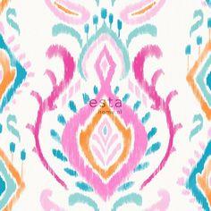 148645 papier peint intissé éco texture impression à la craie baroque Rose, Orange et bleu.