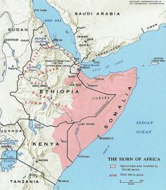 Map showing the distribution of the Afro-Asiatic Somali language in the Horn of Africa.