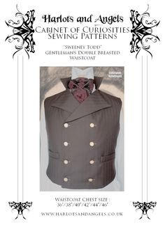 Steampunk Double Breasted Waistcoat  Paper Sewing Pattern . Sweeney Todd style (SWTD). via Etsy.