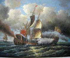 """Peaceful Hand Painted Neoclassical Framed Wall Art Cheap Sailing Ships, Size: 24"""" x 20"""", $85. Url: http://www.oilpaintingshops.com/peaceful-hand-painted-neoclassical-framed-wall-art-cheap-sailing-ships-2043.html"""