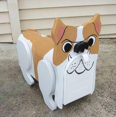 Handmade Custom Wooden Functional Bulldog mailbox by tomscraftcastle on Etsy
