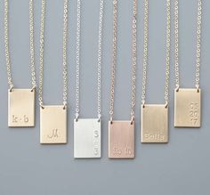 Tag Necklace // Engraved Rectangle Necklace Personalized Name