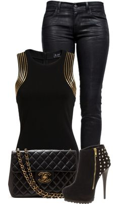 Gold and Black by fashion-766 on Polyvore. I would so love to be able to ROCK this outfit.