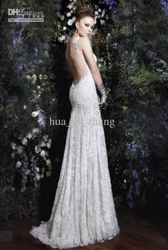 Wholesale 2013 Low Back Lace Wedding Dresses Sheath Sweetheart Backless Sexy Summer Bridal Gowns