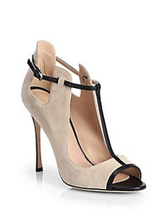 Sergio Rossi - Suede & Leather T-Strap Pumps