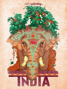 Vintage Indian elephant poster // India
