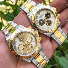 The most exciting attractions are between two opposites Call or E-Mail Us for Pricing on these Rolex Two-Tone Daytona's! Cool Watches, Rolex Watches, Watches For Men, Wrist Watches, Rolex Cosmograph Daytona, Rolex Daytona, Swiss Luxury Watches, Breitling, Michael Kors Watch