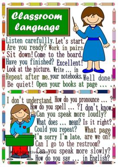 A poster to practise teacher-student and student-teacher classroom language. Hope you like it. English Study, English Lessons, Learn English, Classroom Rules, Classroom Language, English Language Learning, Teaching English, English Teachers, English Primary School