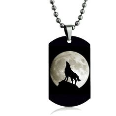 Howling Wolf And Moon Color Dog tag Necklace Pendant 24 inch Stainless... ($18) ❤ liked on Polyvore featuring jewelry, necklaces, chain pendants, chain necklace, dog tag pendant, stainless steel pendants and chain pendant necklace