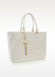 72618dd4db44 Versace Elettra Vanitas - Large White Quilted Leather Tote