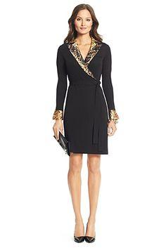 DVF Mardi Snake Tuxedo Wrap Dress In Black/ Snake Ribbon Small Neutral