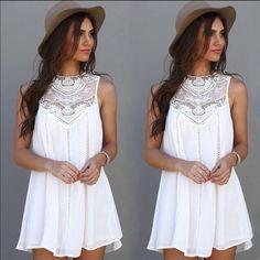 {HP} White lace Boho Mini Dress Crochet Neckline ✨White lace Boho Mini Boho Dress✨ GlamVault Dresses Mini