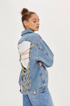 MOTO Oversized Denim Chain Jacket