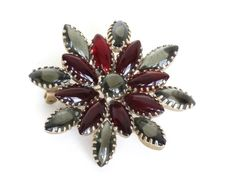 Vintage Purple Flower Rhinestone Pin Brooch Open Back Juliana Quality Gold Large Big
