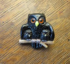 ButtonArtMuseum.com - Carved Mother Owl 2 Baby Owlets Button Jet Bakelite Vegetable Ivory and Bone
