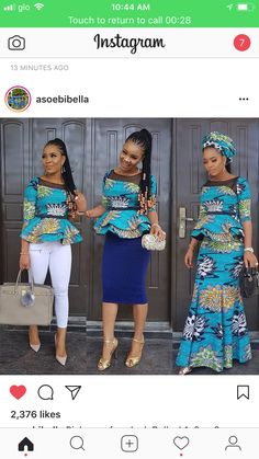 rocking ankara blouse with six pieces long skirt short sharp blue skirt and white fitting Jean. The combination is so superb isn't it? Double tap if you like it . African American Fashion, Latest African Fashion Dresses, African Dresses For Women, African Print Dresses, African Print Fashion, African Attire, African Wear, African Women, Ankara Fashion