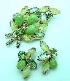Vintage Juliana Green Brooch Earrings