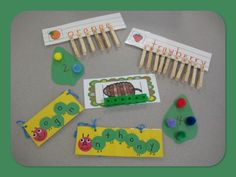 A Very Hungry Caterpillar Activities- can also add names of students to the matching letters game Preschool Projects, Preschool Literacy, Literacy Activities, In Kindergarten, Toddler Activities, Crafts For Kids, Spring Activities, Caterpillar Preschool, The Very Hungry Caterpillar Activities