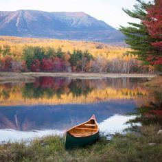 Fall in Maine. LLBean Old Town anniversary canoe Canoe Camping, Canoe Trip, Canoe And Kayak, Outdoor Life, Outdoor Fun, Beautiful World, Beautiful Places, Kayaking, Canoeing