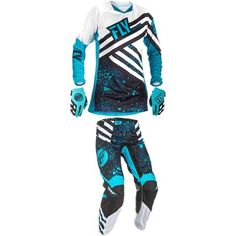 3ac5d056eb1e Fly 2018 Girl s Kinetic Combo, Blue black, X-Small-Motocross Pant Jersey  Glove Combo