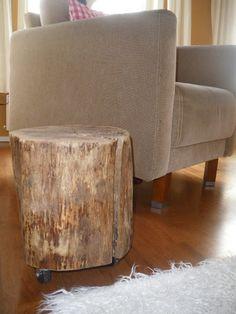 Boomstammetje uit het houthok of bij een hovenier halen.