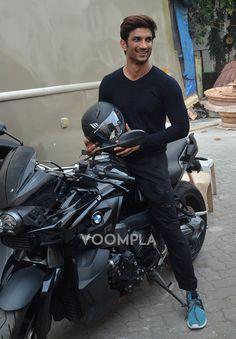 Sushant Singh Rajput on his black sports bike. Cute Actors, Handsome Actors, Real Hero, My Hero, Roy Kapoor, Indian Celebrities, Bollywood Celebrities, Sushant Singh, Akshay Kumar