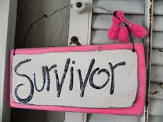 Wood Typography Signs CANCER AWARENESS | SURVIVOR Sign Pink and Glitter Breast Cancer Awareness SPECIAL OCTOBER
