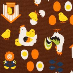 brown chicken oxford fabric Cosmo Japan egg chick 1